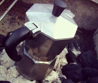 I take moka pots when I go camping, or when I'll need to use an open fire.